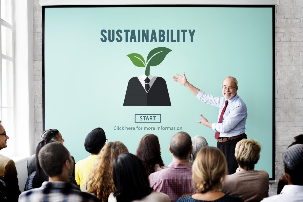 ceo discussing corporate sustainability