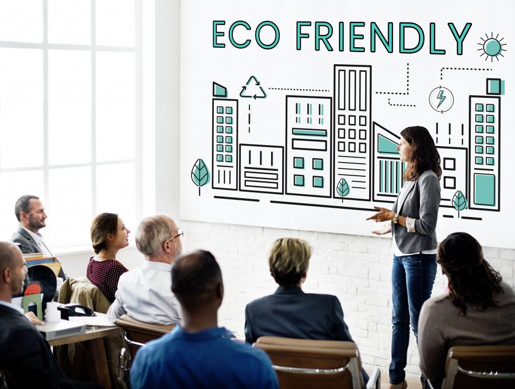 ceo discussing an eco-friendly rebranding project