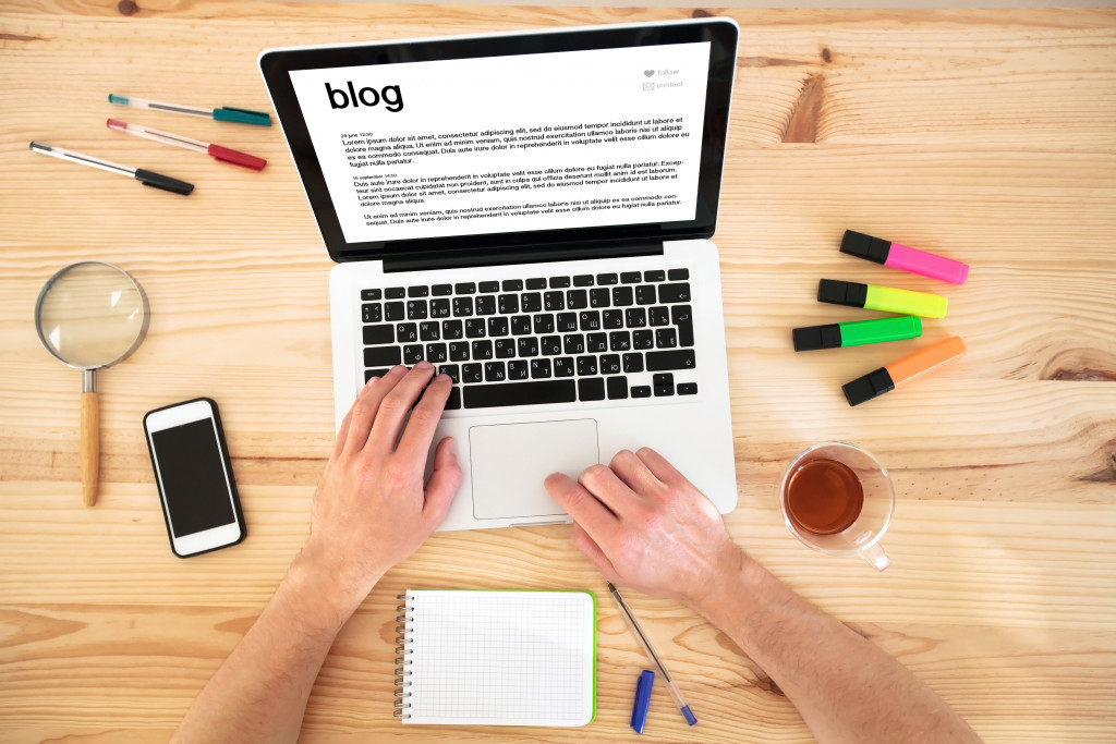 person doing a blog