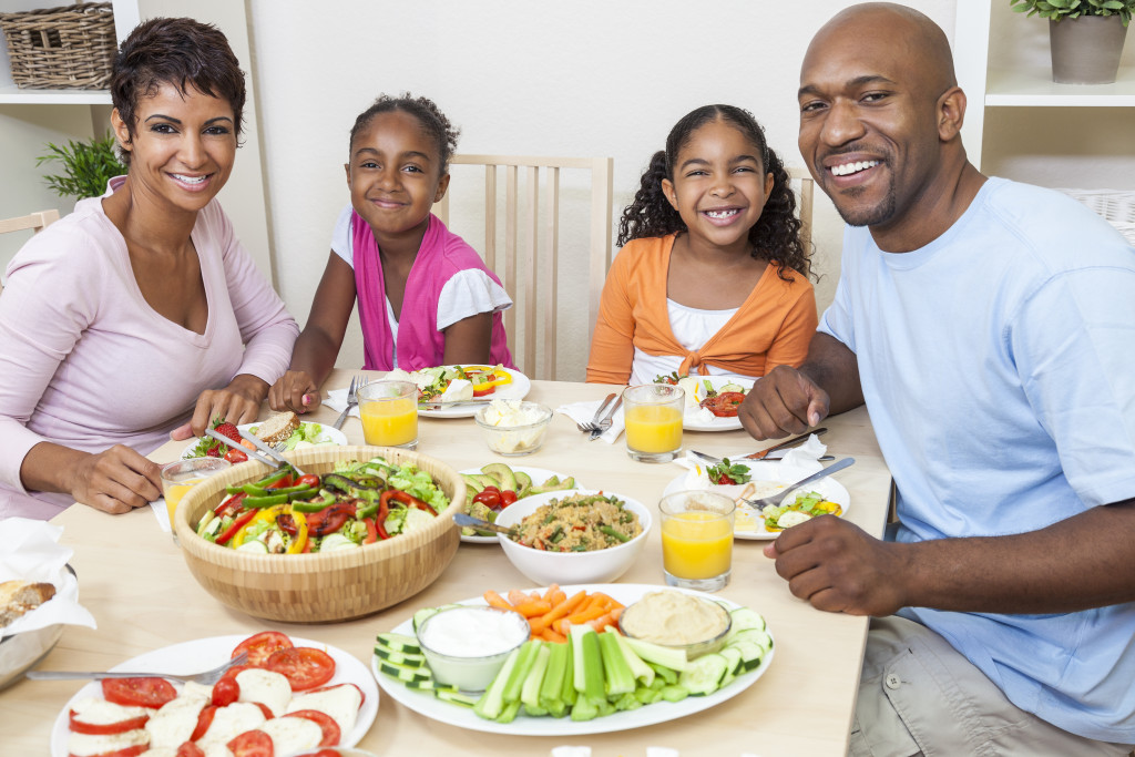 family eating healthy food